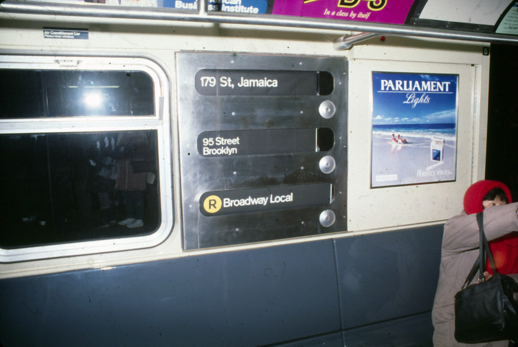 (167k, 1024x687)<br><b>Country:</b> United States<br><b>City:</b> New York<br><b>System:</b> New York City Transit<br><b>Route:</b> R<br><b>Car:</b> R-32 (Budd, 1964)  Interior <br><b>Collection of:</b> Collection of nycsubway.org <br><b>Notes:</b> 1980s- R to 179th rollsign<br><b>Viewed (this week/total):</b> 8 / 2814