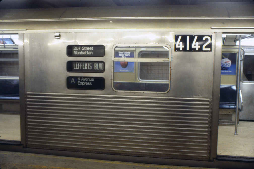 (360k, 1024x682)<br><b>Country:</b> United States<br><b>City:</b> New York<br><b>System:</b> New York City Transit<br><b>Line:</b> IND 8th Avenue Line<br><b>Location:</b> 207th Street <br><b>Route:</b> A<br><b>Car:</b> R-38 (St. Louis, 1966-1967)  4142 <br><b>Collection of:</b> Collection of nycsubway.org <br><b>Notes:</b> 1980s<br><b>Viewed (this week/total):</b> 0 / 3287