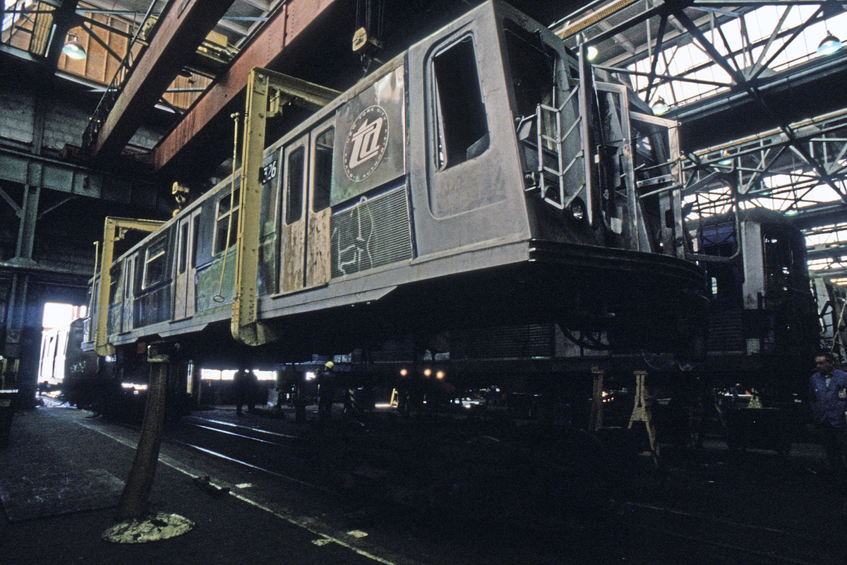 (397k, 1024x683)<br><b>Country:</b> United States<br><b>City:</b> New York<br><b>System:</b> New York City Transit<br><b>Location:</b> Coney Island Shop/Overhaul & Repair Shop<br><b>Car:</b> R-40 (St. Louis, 1968)  4326 <br><b>Collection of:</b> Collection of nycsubway.org <br><b>Notes:</b> 1980s<br><b>Viewed (this week/total):</b> 0 / 1580