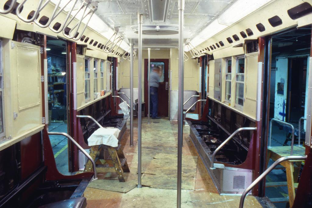 (263k, 1024x691)<br><b>Country:</b> United States<br><b>City:</b> New York<br><b>System:</b> New York City Transit<br><b>Location:</b> 207th Street Shop<br><b>Car:</b> R-33 Main Line (St. Louis, 1962-63) Interior <br><b>Collection of:</b> Collection of nycsubway.org <br><b>Notes:</b> 1980s- overhaul.<br><b>Viewed (this week/total):</b> 3 / 2072
