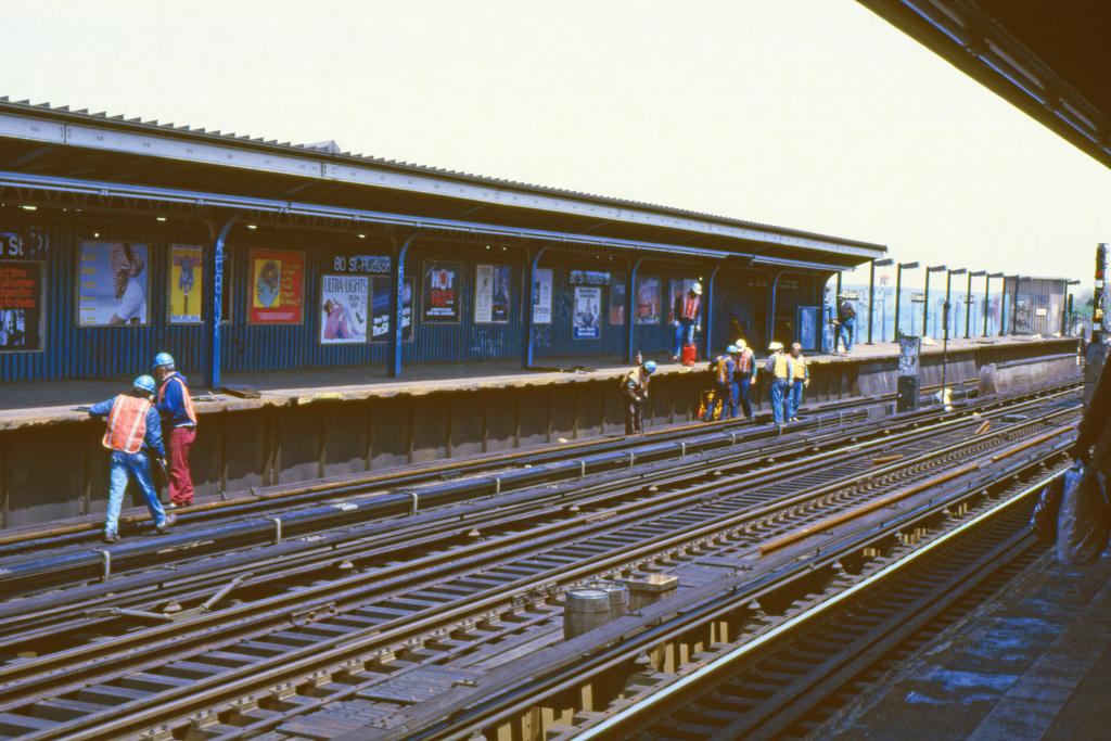 (457k, 1024x683)<br><b>Country:</b> United States<br><b>City:</b> New York<br><b>System:</b> New York City Transit<br><b>Line:</b> IND Fulton Street Line<br><b>Location:</b> 80th Street/Hudson Street <br><b>Collection of:</b> Collection of nycsubway.org <br><b>Notes:</b> 1980s - Rail replacement project.<br><b>Viewed (this week/total):</b> 0 / 1348