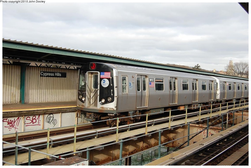 (249k, 1044x699)<br><b>Country:</b> United States<br><b>City:</b> New York<br><b>System:</b> New York City Transit<br><b>Line:</b> BMT Nassau Street/Jamaica Line<br><b>Location:</b> Cypress Hills <br><b>Route:</b> J<br><b>Car:</b> R-160A-1 (Alstom, 2005-2008, 4 car sets)  8612 <br><b>Photo by:</b> John Dooley<br><b>Date:</b> 12/14/2010<br><b>Viewed (this week/total):</b> 1 / 1310