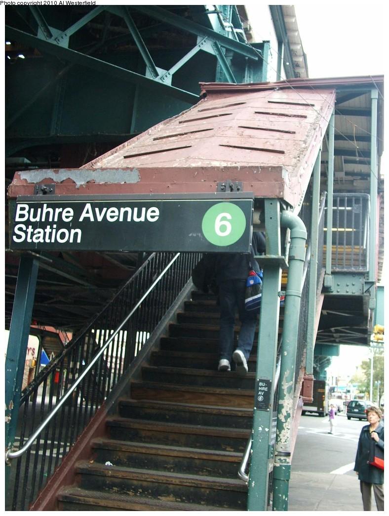 (210k, 788x1044)<br><b>Country:</b> United States<br><b>City:</b> New York<br><b>System:</b> New York City Transit<br><b>Line:</b> IRT Pelham Line<br><b>Location:</b> Buhre Avenue <br><b>Photo by:</b> Al Westerfield<br><b>Date:</b> 2010<br><b>Notes:</b> Station entrance.<br><b>Viewed (this week/total):</b> 0 / 1071