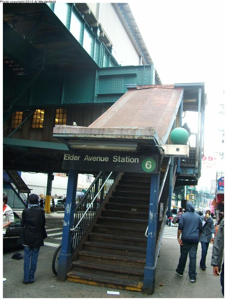 (181k, 788x1044)<br><b>Country:</b> United States<br><b>City:</b> New York<br><b>System:</b> New York City Transit<br><b>Line:</b> IRT Pelham Line<br><b>Location:</b> Elder Avenue <br><b>Photo by:</b> Al Westerfield<br><b>Date:</b> 2010<br><b>Notes:</b> Station entrance.<br><b>Viewed (this week/total):</b> 2 / 988