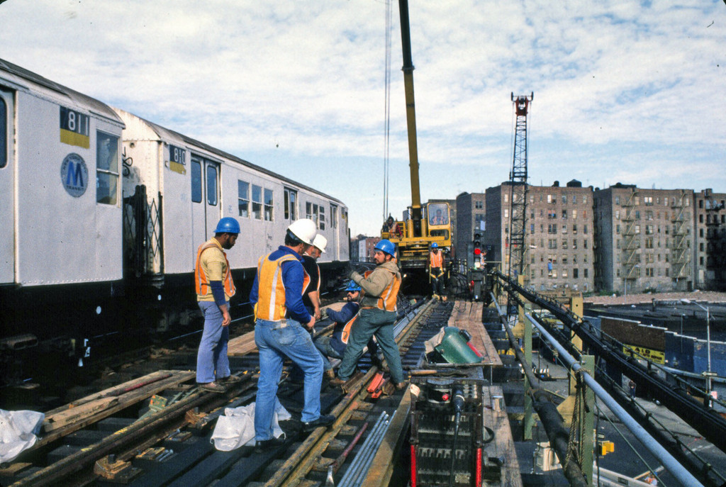(278k, 1024x687)<br><b>Country:</b> United States<br><b>City:</b> New York<br><b>System:</b> New York City Transit<br><b>Line:</b> IRT Woodlawn Line<br><b>Location:</b> 167th Street <br><b>Route:</b> 4<br><b>Car:</b> R-26 (American Car & Foundry, 1959-60) 7810 <br><b>Collection of:</b> Collection of nycsubway.org <br><b>Notes:</b> Track replacement project.<br><b>Viewed (this week/total):</b> 0 / 2811