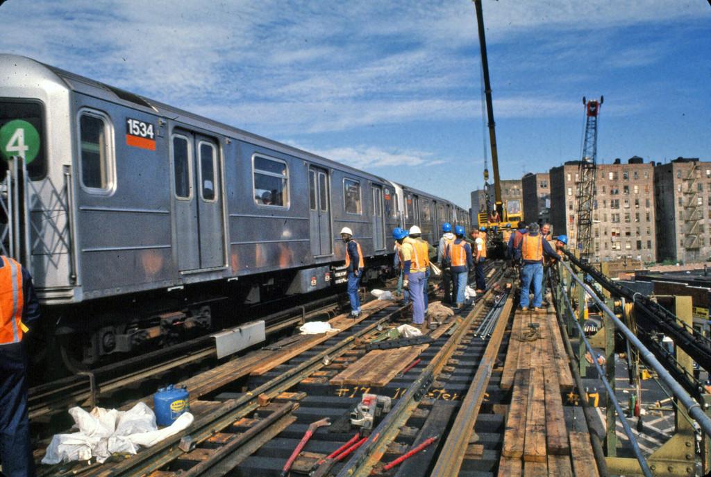 (306k, 1024x688)<br><b>Country:</b> United States<br><b>City:</b> New York<br><b>System:</b> New York City Transit<br><b>Line:</b> IRT Woodlawn Line<br><b>Location:</b> 167th Street <br><b>Route:</b> 4<br><b>Car:</b> R-62 (Kawasaki, 1983-1985)  1534 <br><b>Collection of:</b> Collection of nycsubway.org <br><b>Notes:</b> Track replacement project.<br><b>Viewed (this week/total):</b> 2 / 2287