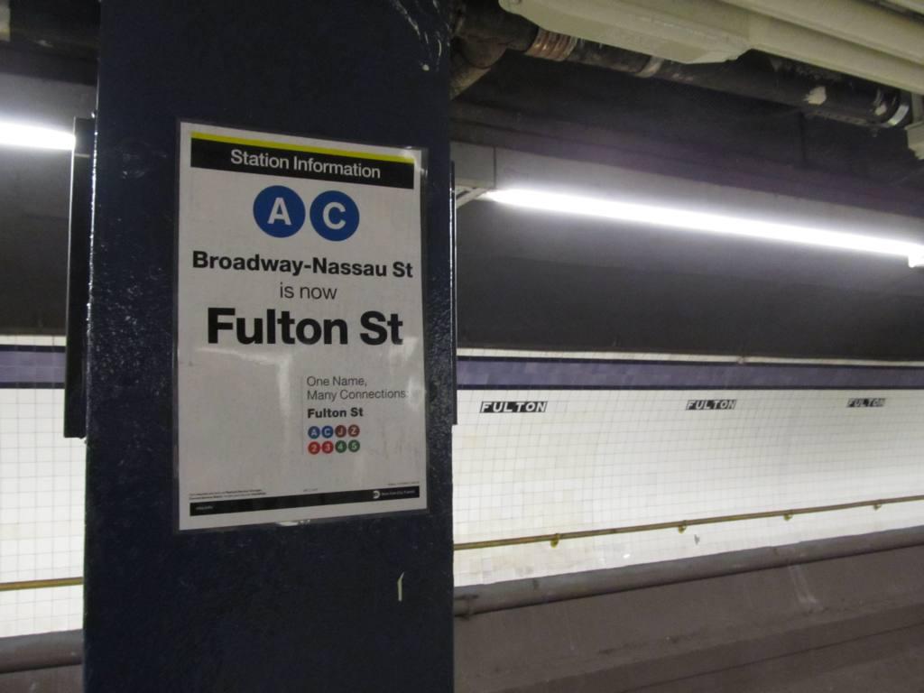 (71k, 1024x768)<br><b>Country:</b> United States<br><b>City:</b> New York<br><b>System:</b> New York City Transit<br><b>Line:</b> IND 8th Avenue Line<br><b>Location:</b> Fulton Street (Broadway/Nassau) <br><b>Photo by:</b> Robbie Rosenfeld<br><b>Date:</b> 12/10/2010<br><b>Notes:</b> New Fulton St tile names<br><b>Viewed (this week/total):</b> 4 / 2342