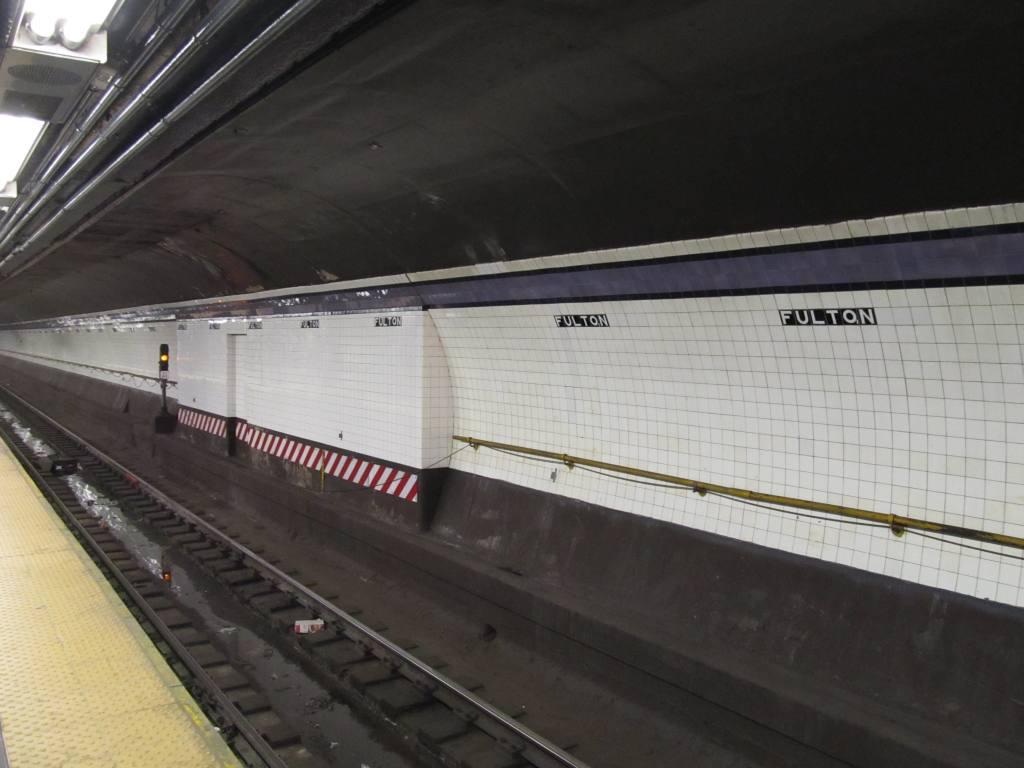 (85k, 1024x768)<br><b>Country:</b> United States<br><b>City:</b> New York<br><b>System:</b> New York City Transit<br><b>Line:</b> IND 8th Avenue Line<br><b>Location:</b> Fulton Street (Broadway/Nassau) <br><b>Photo by:</b> Robbie Rosenfeld<br><b>Date:</b> 12/10/2010<br><b>Notes:</b> New Fulton St tile names<br><b>Viewed (this week/total):</b> 0 / 1884
