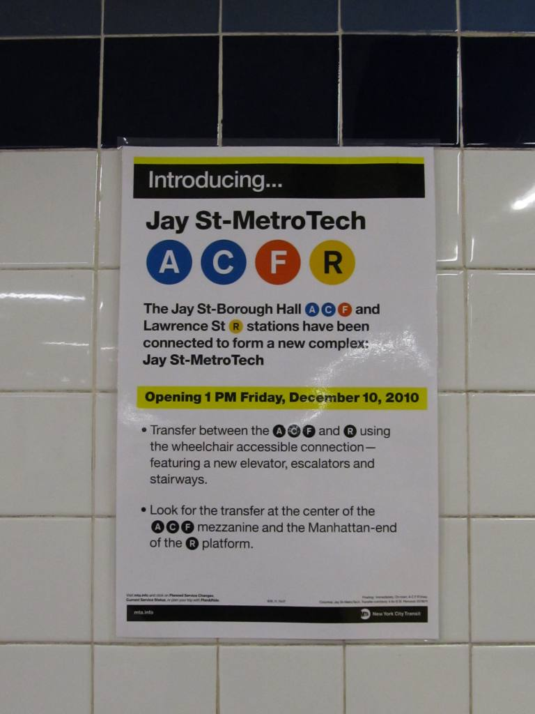 (71k, 768x1024)<br><b>Country:</b> United States<br><b>City:</b> New York<br><b>System:</b> New York City Transit<br><b>Line:</b> BMT Broadway Line<br><b>Location:</b> Jay St./Metrotech (Lawrence St.) <br><b>Photo by:</b> Robbie Rosenfeld<br><b>Date:</b> 12/10/2010<br><b>Notes:</b> New transfer corridor to Jay St IND.<br><b>Viewed (this week/total):</b> 1 / 2078