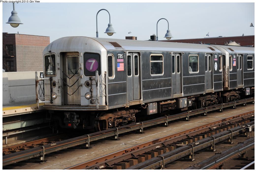 (263k, 1044x701)<br><b>Country:</b> United States<br><b>City:</b> New York<br><b>System:</b> New York City Transit<br><b>Line:</b> IRT Flushing Line<br><b>Location:</b> 46th Street/Bliss Street <br><b>Route:</b> 7<br><b>Car:</b> R-62A (Bombardier, 1984-1987)  1785 <br><b>Photo by:</b> Gin Yee<br><b>Date:</b> 11/18/2010<br><b>Viewed (this week/total):</b> 1 / 1059