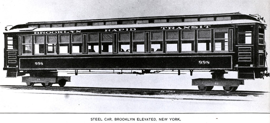 (137k, 1024x468)<br><b>Country:</b> United States<br><b>City:</b> New York<br><b>System:</b> New York City Transit<br><b>Car:</b> BMT Elevated Gate Car 998 <br><b>Collection of:</b> George Conrad Collection<br><b>Date:</b> 1909<br><b>Notes:</b> Pressed Steel builders photo<br><b>Viewed (this week/total):</b> 0 / 939