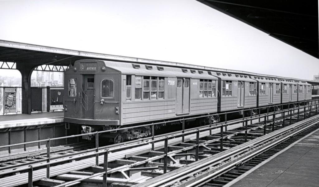 (148k, 1024x603)<br><b>Country:</b> United States<br><b>City:</b> New York<br><b>System:</b> New York City Transit<br><b>Line:</b> BMT Myrtle Avenue Line<br><b>Location:</b> Knickerbocker Avenue <br><b>Car:</b> BMT Multi 7013 <br><b>Collection of:</b> George Conrad Collection<br><b>Date:</b> 8/3/1957<br><b>Viewed (this week/total):</b> 2 / 1646