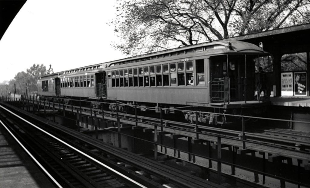 (152k, 1024x623)<br><b>Country:</b> United States<br><b>City:</b> New York<br><b>System:</b> New York City Transit<br><b>Line:</b> BMT Nassau Street/Jamaica Line<br><b>Location:</b> Cypress Hills <br><b>Route:</b> Fan Trip<br><b>Car:</b> BMT Elevated Gate Car 1448 <br><b>Date:</b> 10/9/1949<br><b>Viewed (this week/total):</b> 0 / 1255