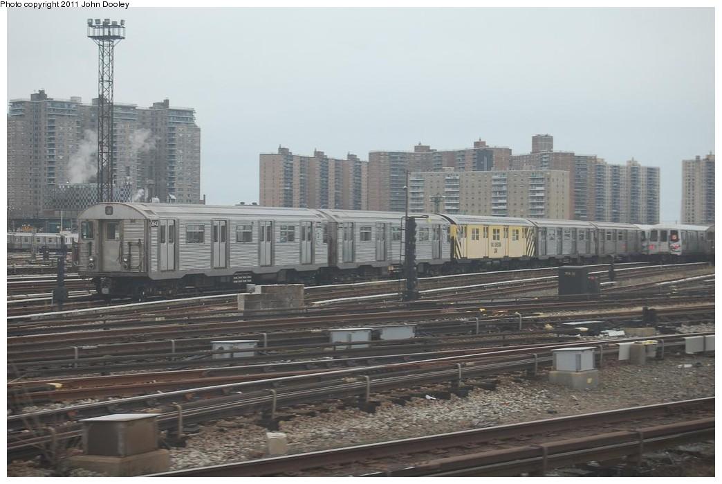 (201k, 1044x699)<br><b>Country:</b> United States<br><b>City:</b> New York<br><b>System:</b> New York City Transit<br><b>Location:</b> Coney Island Yard<br><b>Car:</b> R-32 (Budd, 1964)  3643 <br><b>Photo by:</b> John Dooley<br><b>Date:</b> 12/10/2010<br><b>Notes:</b> Rail adhesion train.<br><b>Viewed (this week/total):</b> 0 / 1035