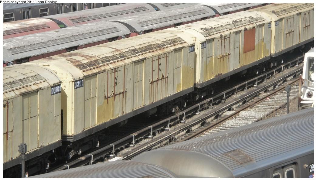 (219k, 1044x596)<br><b>Country:</b> United States<br><b>City:</b> New York<br><b>System:</b> New York City Transit<br><b>Location:</b> Concourse Yard<br><b>Car:</b> R-123 Continuous Welded Rail Handler (R17/R21/R22 Rebuilds) DCR07 <br><b>Photo by:</b> John Dooley<br><b>Date:</b> 10/29/2010<br><b>Viewed (this week/total):</b> 0 / 1327