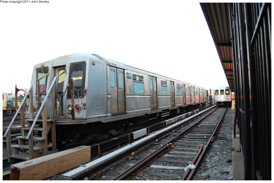 (208k, 1044x699)<br><b>Country:</b> United States<br><b>City:</b> New York<br><b>System:</b> New York City Transit<br><b>Location:</b> Rockaway Park Yard<br><b>Car:</b> R-40 (St. Louis, 1968)  4392 <br><b>Photo by:</b> John Dooley<br><b>Date:</b> 12/17/2010<br><b>Notes:</b> School car<br><b>Viewed (this week/total):</b> 1 / 1068