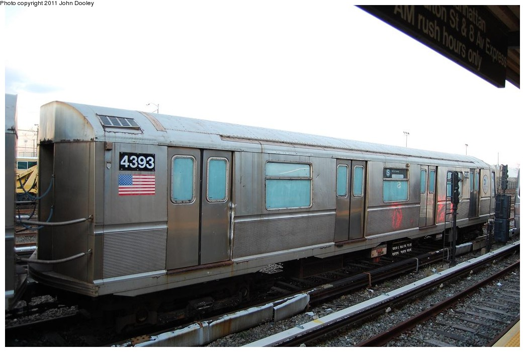 (190k, 1044x699)<br><b>Country:</b> United States<br><b>City:</b> New York<br><b>System:</b> New York City Transit<br><b>Location:</b> Rockaway Park Yard<br><b>Car:</b> R-40 (St. Louis, 1968)  4393 <br><b>Photo by:</b> John Dooley<br><b>Date:</b> 12/17/2010<br><b>Notes:</b> School car<br><b>Viewed (this week/total):</b> 0 / 891