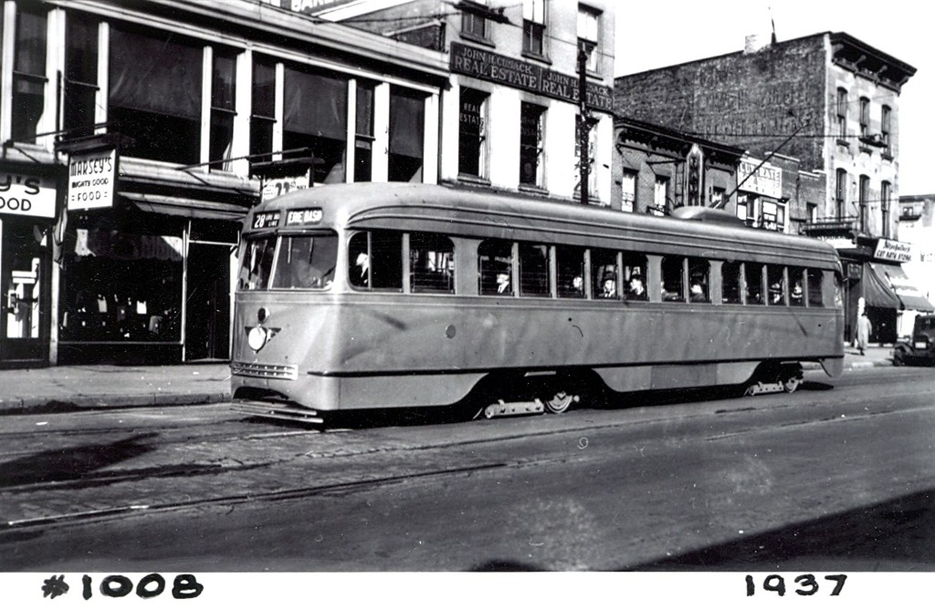 (190k, 1024x669)<br><b>Country:</b> United States<br><b>City:</b> New York<br><b>System:</b> Brooklyn & Queens Transit<br><b>Car:</b> Brooklyn & Queens Transit PCC (St. Louis Car, 1936)  1008 <br><b>Collection of:</b> George Conrad Collection<br><b>Date:</b> 2/1937<br><b>Notes:</b> Court & Atlantic - Rt 28 Erie Basin Line<br><b>Viewed (this week/total):</b> 1 / 672