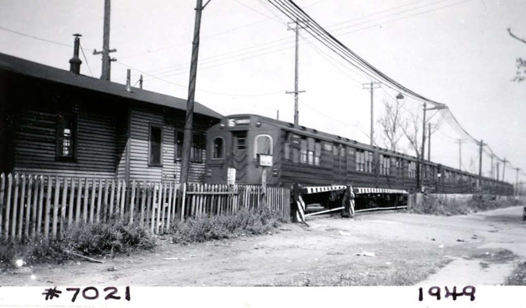 (126k, 1024x599)<br><b>Country:</b> United States<br><b>City:</b> New York<br><b>System:</b> New York City Transit<br><b>Line:</b> BMT Canarsie Line<br><b>Location:</b> East 105th Street (Grade Crossing) <br><b>Car:</b> BMT Multi 7021 <br><b>Collection of:</b> George Conrad Collection<br><b>Date:</b> 10/9/1949<br><b>Viewed (this week/total):</b> 4 / 1238