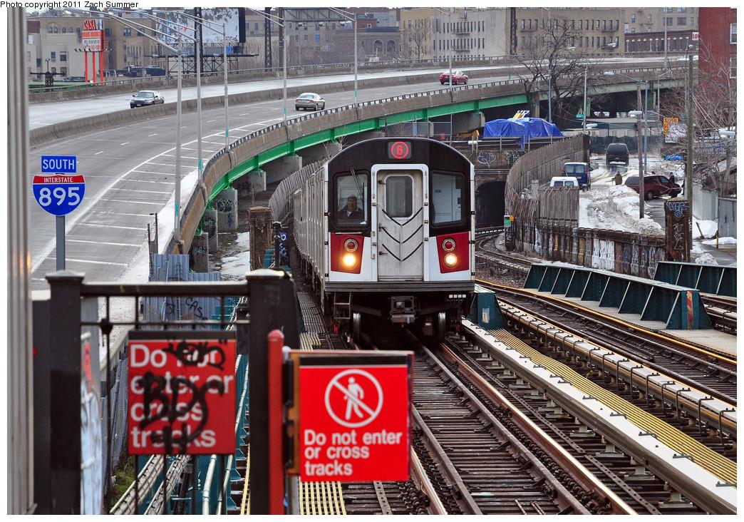 (380k, 1044x732)<br><b>Country:</b> United States<br><b>City:</b> New York<br><b>System:</b> New York City Transit<br><b>Line:</b> IRT Pelham Line<br><b>Location:</b> Whitlock Avenue <br><b>Route:</b> 6<br><b>Car:</b> R-142A (Primary Order, Kawasaki, 1999-2002)  7551 <br><b>Photo by:</b> Zach Summer<br><b>Date:</b> 1/2/2011<br><b>Viewed (this week/total):</b> 1 / 1774