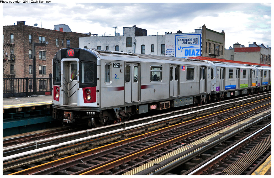 (328k, 1044x678)<br><b>Country:</b> United States<br><b>City:</b> New York<br><b>System:</b> New York City Transit<br><b>Line:</b> IRT Pelham Line<br><b>Location:</b> Elder Avenue <br><b>Route:</b> 6<br><b>Car:</b> R-142A (Primary Order, Kawasaki, 1999-2002)  7521 <br><b>Photo by:</b> Zach Summer<br><b>Date:</b> 1/2/2011<br><b>Viewed (this week/total):</b> 0 / 1459