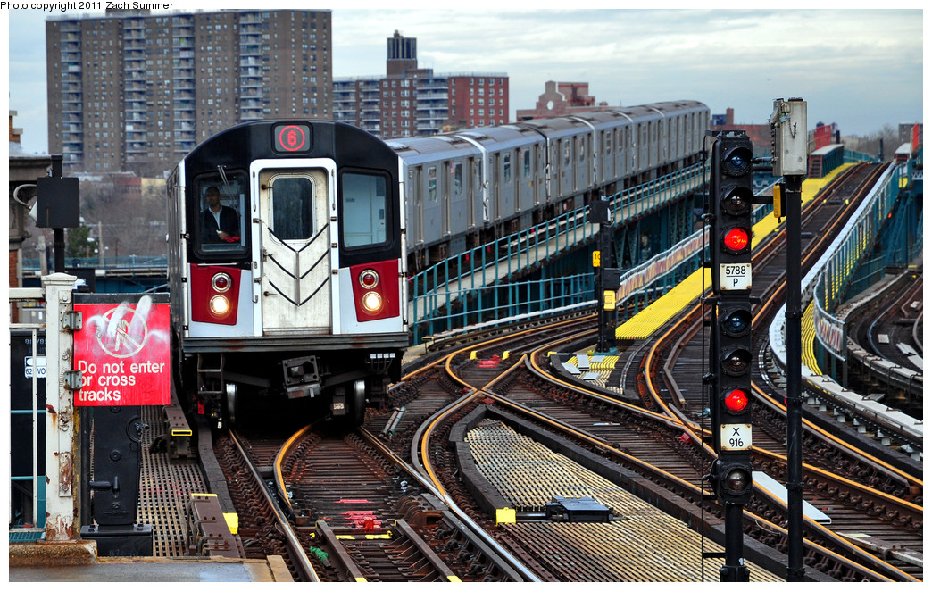 (351k, 1044x662)<br><b>Country:</b> United States<br><b>City:</b> New York<br><b>System:</b> New York City Transit<br><b>Line:</b> IRT Pelham Line<br><b>Location:</b> Westchester Square <br><b>Route:</b> 6<br><b>Car:</b> R-142A (Primary Order, Kawasaki, 1999-2002)  7330 <br><b>Photo by:</b> Zach Summer<br><b>Date:</b> 1/2/2011<br><b>Viewed (this week/total):</b> 0 / 1700