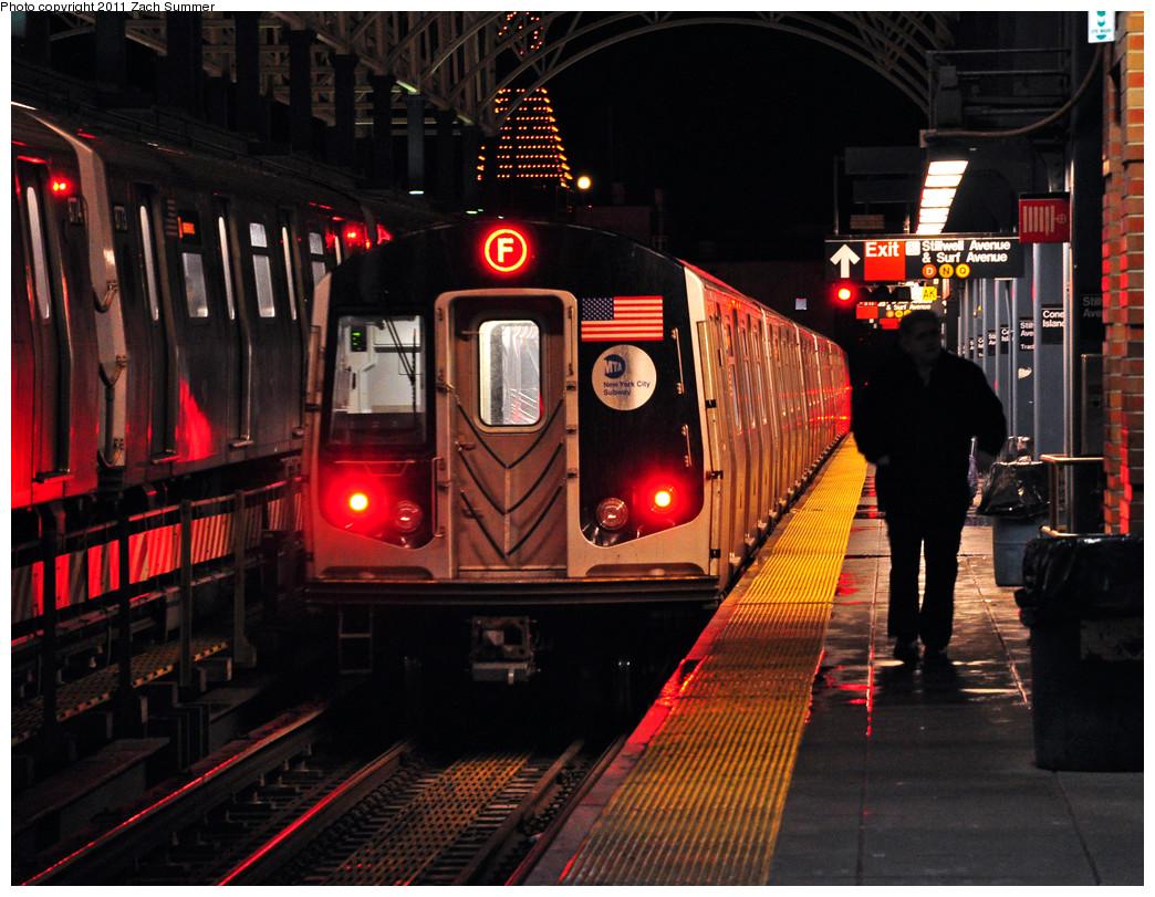 (319k, 1044x811)<br><b>Country:</b> United States<br><b>City:</b> New York<br><b>System:</b> New York City Transit<br><b>Location:</b> Coney Island/Stillwell Avenue<br><b>Route:</b> F<br><b>Car:</b> R-160A (Option 2) (Alstom, 2009, 5-car sets)  9788 <br><b>Photo by:</b> Zach Summer<br><b>Date:</b> 1/2/2011<br><b>Viewed (this week/total):</b> 2 / 1547