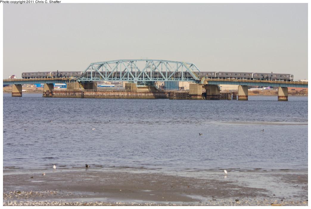 (193k, 1044x702)<br><b>Country:</b> United States<br><b>City:</b> New York<br><b>System:</b> New York City Transit<br><b>Line:</b> IND Rockaway<br><b>Location:</b> North Channel Bridge <br><b>Route:</b> A<br><b>Car:</b> R-46 (Pullman-Standard, 1974-75)  <br><b>Photo by:</b> Chris C. Shaffer<br><b>Date:</b> 1/20/2011<br><b>Viewed (this week/total):</b> 0 / 914