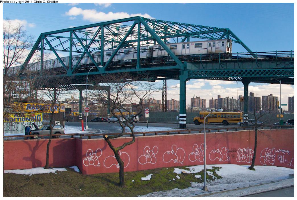 (341k, 1044x703)<br><b>Country:</b> United States<br><b>City:</b> New York<br><b>System:</b> New York City Transit<br><b>Line:</b> IRT Pelham Line<br><b>Location:</b> Whitlock Avenue <br><b>Route:</b> 6<br><b>Car:</b> R-142A (Primary Order, Kawasaki, 1999-2002)  7341 <br><b>Photo by:</b> Chris C. Shaffer<br><b>Date:</b> 2/8/2011<br><b>Viewed (this week/total):</b> 0 / 1486
