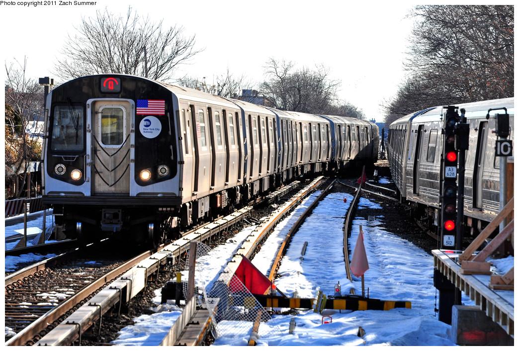 (358k, 1044x706)<br><b>Country:</b> United States<br><b>City:</b> New York<br><b>System:</b> New York City Transit<br><b>Line:</b> BMT Brighton Line<br><b>Location:</b> Kings Highway <br><b>Route:</b> Q<br><b>Car:</b> R-160B (Kawasaki, 2005-2008)  8893 <br><b>Photo by:</b> Zach Summer<br><b>Date:</b> 1/5/2011<br><b>Notes:</b> Due to a G.O. Q Trains were terminating at Kings Highway; B Trains ran to Brighton Beach; B68 Buses replaced Q Service between Brighton Beach & Stillwell Avenue.<br><b>Viewed (this week/total):</b> 0 / 1221