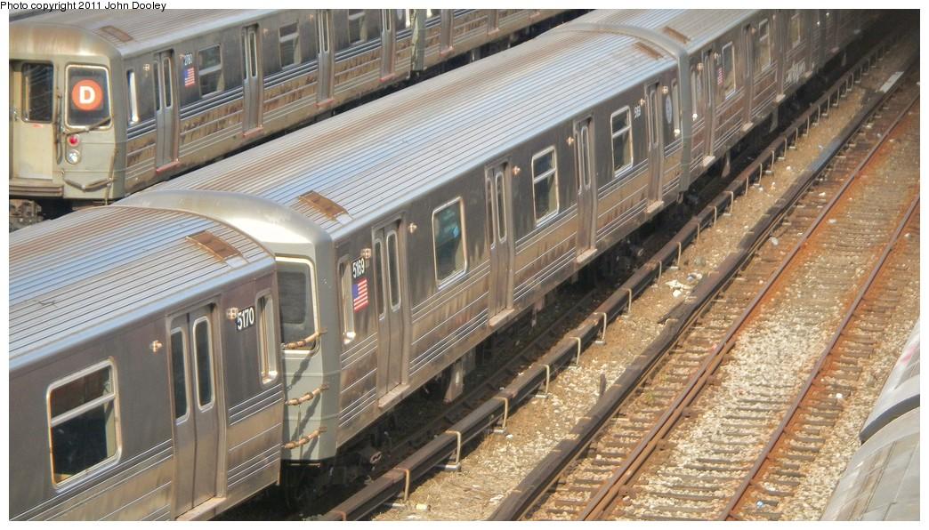 (230k, 1044x596)<br><b>Country:</b> United States<br><b>City:</b> New York<br><b>System:</b> New York City Transit<br><b>Location:</b> Concourse Yard<br><b>Car:</b> R-68A (Kawasaki, 1988-1989)  5169 <br><b>Photo by:</b> John Dooley<br><b>Date:</b> 10/29/2010<br><b>Viewed (this week/total):</b> 0 / 743