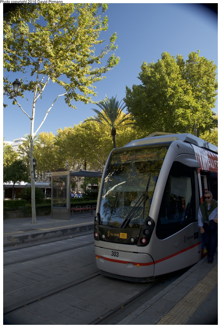 (328k, 703x1043)<br><b>Country:</b> Spain<br><b>City:</b> Seville<br><b>System:</b> Tranvía MetroCentro <br><b>Location:</b> <b>Plaza Nueva</b> <br><b>Car:</b> CAF Urbos 3  303 <br><b>Photo by:</b> David Pirmann<br><b>Date:</b> 11/9/2015<br><b>Viewed (this week/total):</b> 0 / 380