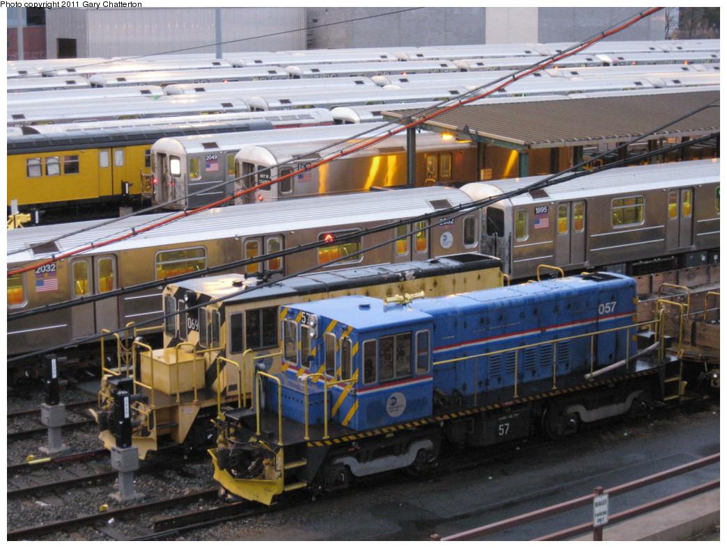 (247k, 1044x788)<br><b>Country:</b> United States<br><b>City:</b> New York<br><b>System:</b> New York City Transit<br><b>Location:</b> Corona Yard<br><b>Car:</b> R-41 Locomotive  57 <br><b>Photo by:</b> Gary Chatterton<br><b>Date:</b> 11/30/2010<br><b>Notes:</b> With Loco R-47 069<br><b>Viewed (this week/total):</b> 3 / 947