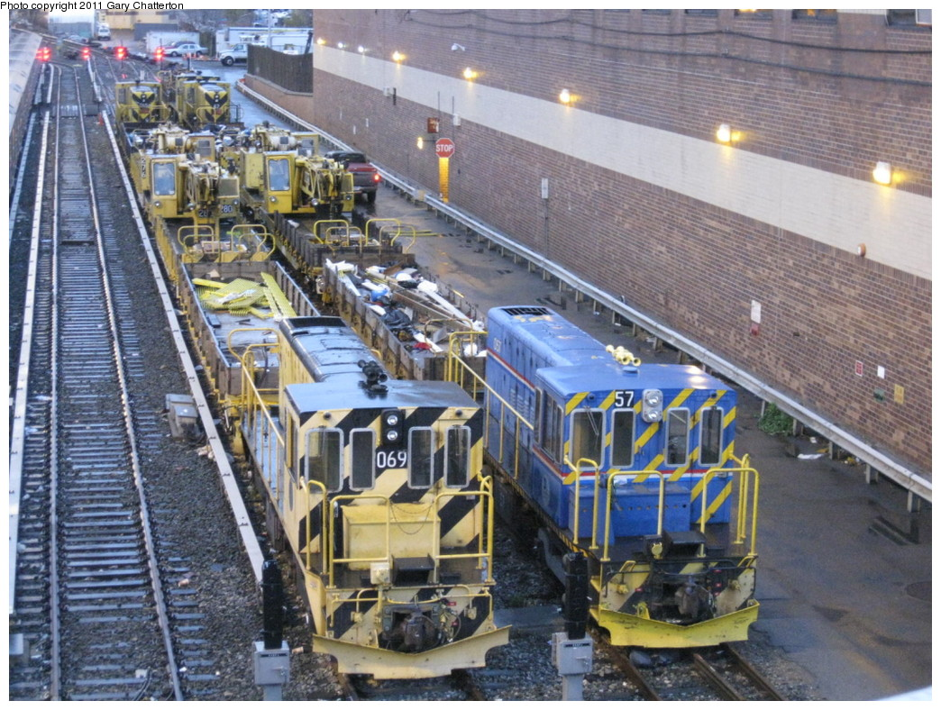 (282k, 1044x788)<br><b>Country:</b> United States<br><b>City:</b> New York<br><b>System:</b> New York City Transit<br><b>Location:</b> Corona Yard<br><b>Car:</b> R-47 Locomotive  69 <br><b>Photo by:</b> Gary Chatterton<br><b>Date:</b> 11/30/2010<br><b>Notes:</b> With Loco R-41 057 and work trains.<br><b>Viewed (this week/total):</b> 2 / 836