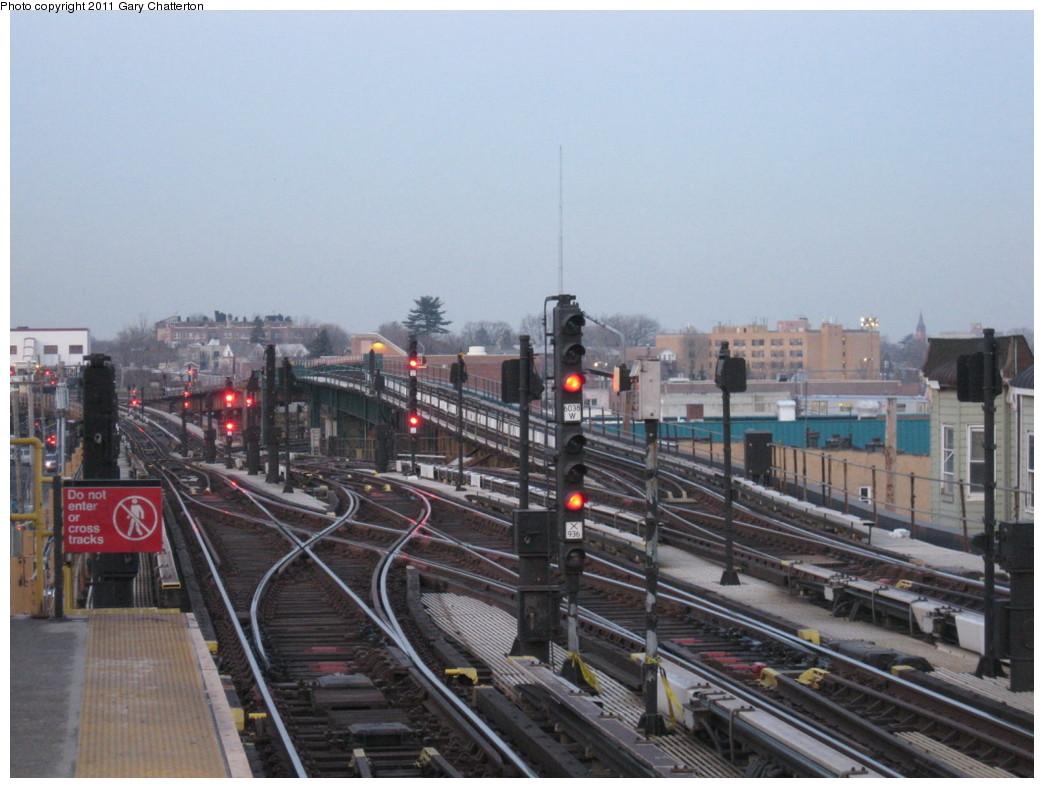(196k, 1044x788)<br><b>Country:</b> United States<br><b>City:</b> New York<br><b>System:</b> New York City Transit<br><b>Line:</b> IRT White Plains Road Line<br><b>Location:</b> 238th Street (Nereid Avenue) <br><b>Photo by:</b> Gary Chatterton<br><b>Date:</b> 2/17/2011<br><b>Notes:</b> View of 241st St Yard Leads.<br><b>Viewed (this week/total):</b> 1 / 1927