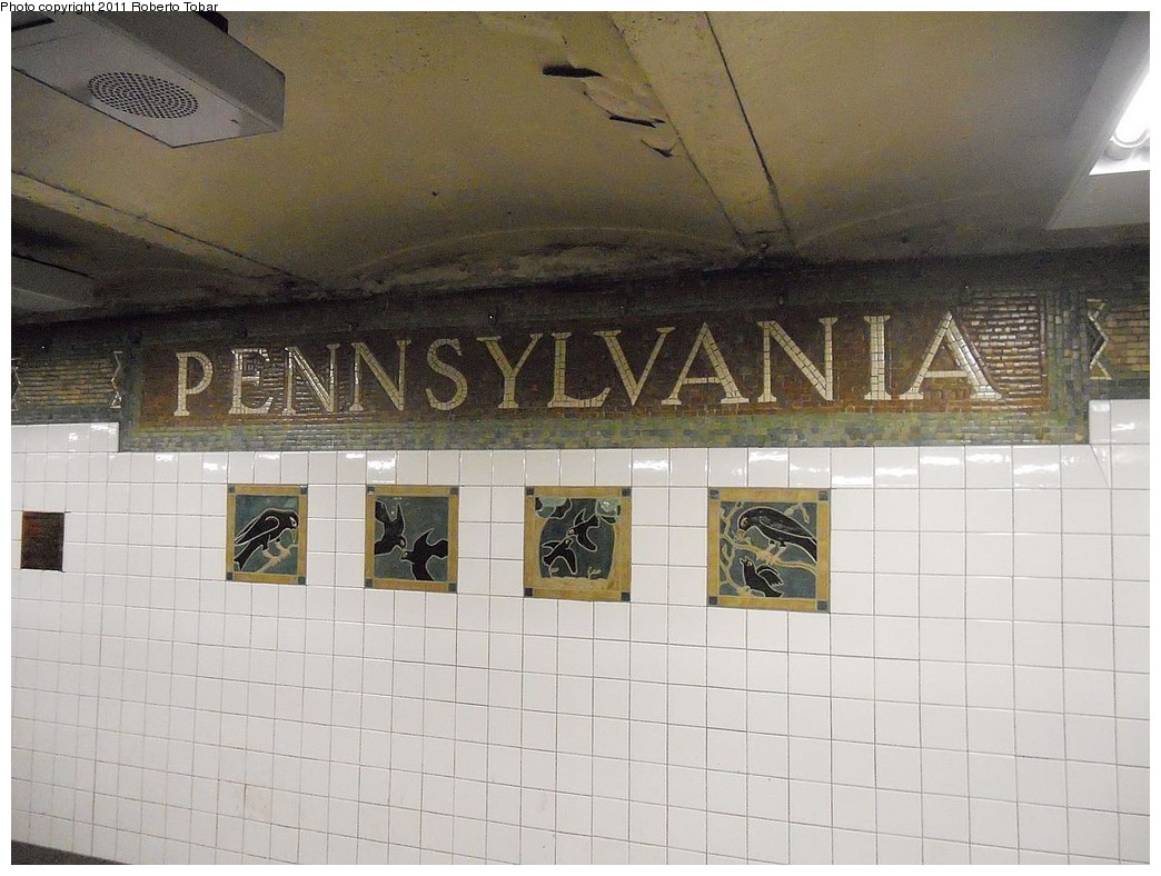 (245k, 1044x788)<br><b>Country:</b> United States<br><b>City:</b> New York<br><b>System:</b> New York City Transit<br><b>Line:</b> IRT West Side Line<br><b>Location:</b> 34th Street/Penn Station <br><b>Photo by:</b> Roberto C. Tobar<br><b>Date:</b> 1/21/2011<br><b>Notes:</b> Name mosaic and art installation.<br><b>Viewed (this week/total):</b> 1 / 851