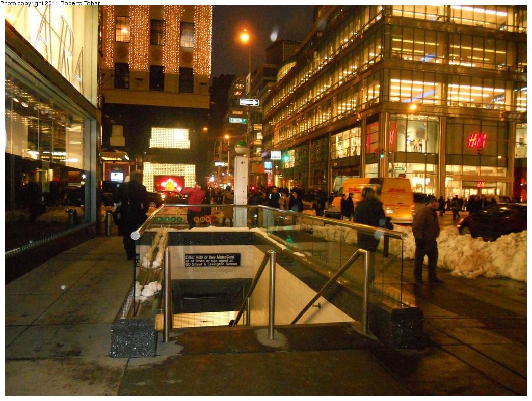 (294k, 1044x788)<br><b>Country:</b> United States<br><b>City:</b> New York<br><b>System:</b> New York City Transit<br><b>Line:</b> IRT East Side Line<br><b>Location:</b> 59th Street <br><b>Photo by:</b> Roberto C. Tobar<br><b>Date:</b> 1/28/2011<br><b>Notes:</b> Station entrance.<br><b>Viewed (this week/total):</b> 1 / 1991