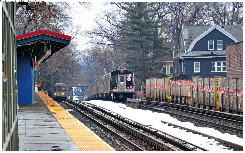 (377k, 1044x650)<br><b>Country:</b> United States<br><b>City:</b> New York<br><b>System:</b> New York City Transit<br><b>Line:</b> BMT Brighton Line<br><b>Location:</b> Avenue H <br><b>Route:</b> B<br><b>Car:</b> R-68 (Westinghouse-Amrail, 1986-1988)  2854 <br><b>Photo by:</b> Zach Summer<br><b>Date:</b> 1/7/2011<br><b>Notes:</b> With R160B 8998 On the Q<br><b>Viewed (this week/total):</b> 0 / 1307