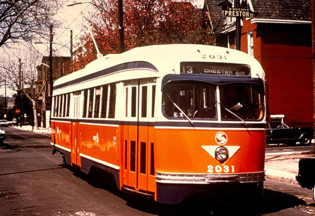 (209k, 1024x702)<br><b>Country:</b> United States<br><b>City:</b> Philadelphia, PA<br><b>System:</b> SEPTA (or Predecessor)<br><b>Line:</b> SEPTA Subway-Surface Diversion Routes<br><b>Location:</b> Ogden/Preston <br><b>Route:</b> Rt 13<br><b>Car:</b> PTC/SEPTA Pre-war Air-car PCC (St.Louis, 1941)  2031 <br><b>Collection of:</b> George Conrad Collection<br><b>Viewed (this week/total):</b> 3 / 790