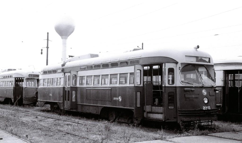 (133k, 1024x606)<br><b>Country:</b> United States<br><b>City:</b> Philadelphia, PA<br><b>System:</b> SEPTA (or Predecessor)<br><b>Location:</b> Luzerne Depot <br><b>Car:</b> PTC/SEPTA ex-Toronto/ex-Birmingham PCC (Pullman, 1946)  2315 <br><b>Collection of:</b> George Conrad Collection<br><b>Date:</b> 5/1979<br><b>Viewed (this week/total):</b> 2 / 643