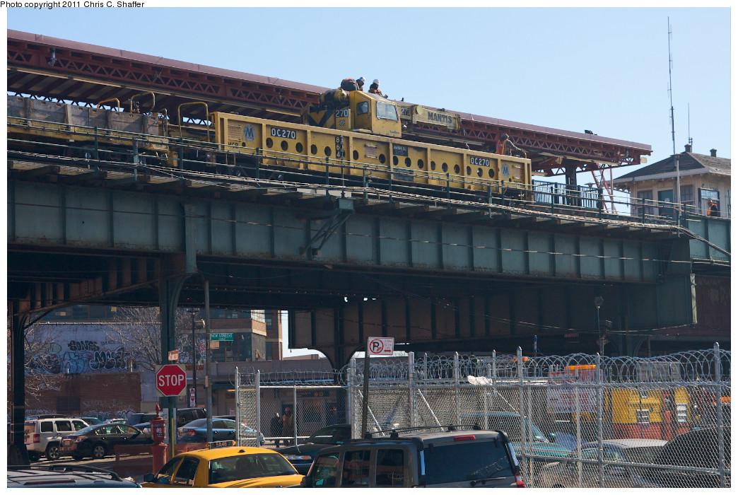 (284k, 1044x700)<br><b>Country:</b> United States<br><b>City:</b> New York<br><b>System:</b> New York City Transit<br><b>Line:</b> BMT West End Line<br><b>Location:</b> 62nd Street <br><b>Route:</b> Work Service<br><b>Car:</b> R-113 Crane Car  270 <br><b>Photo by:</b> Chris C. Shaffer<br><b>Date:</b> 2/11/2011<br><b>Viewed (this week/total):</b> 0 / 934