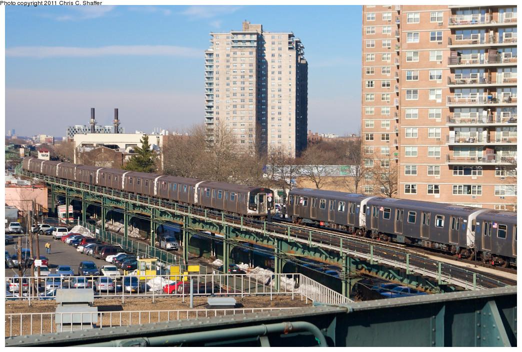 (325k, 1044x703)<br><b>Country:</b> United States<br><b>City:</b> New York<br><b>System:</b> New York City Transit<br><b>Line:</b> BMT Culver Line<br><b>Location:</b> West 8th Street <br><b>Route:</b> F<br><b>Car:</b> R-160A (Option 1) (Alstom, 2008-2009, 5 car sets)  9518 <br><b>Photo by:</b> Chris C. Shaffer<br><b>Date:</b> 2/11/2011<br><b>Notes:</b> With R-160B (Option 2) (Kawasaki, 2009) 9862 / 9861<br><b>Viewed (this week/total):</b> 0 / 1327