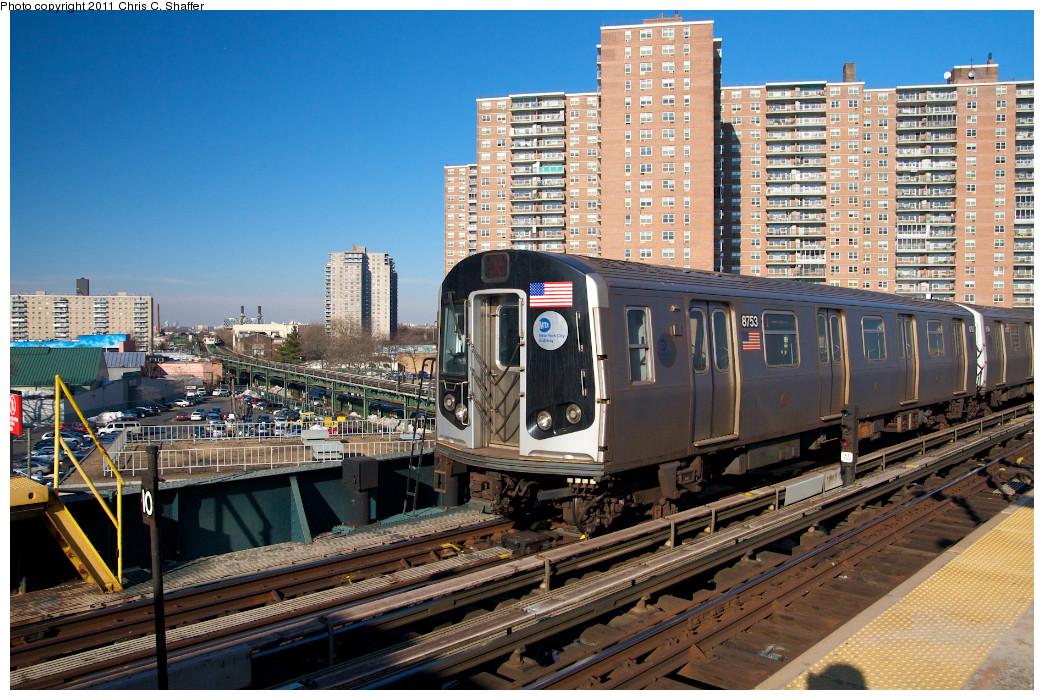 (332k, 1044x700)<br><b>Country:</b> United States<br><b>City:</b> New York<br><b>System:</b> New York City Transit<br><b>Line:</b> BMT Brighton Line<br><b>Location:</b> West 8th Street <br><b>Route:</b> Q<br><b>Car:</b> R-160B (Kawasaki, 2005-2008)  8753 <br><b>Photo by:</b> Chris C. Shaffer<br><b>Date:</b> 2/11/2011<br><b>Viewed (this week/total):</b> 1 / 1373