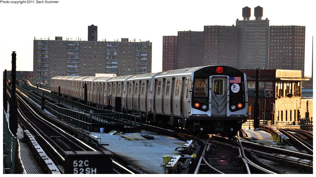 (248k, 1044x584)<br><b>Country:</b> United States<br><b>City:</b> New York<br><b>System:</b> New York City Transit<br><b>Line:</b> BMT Culver Line<br><b>Location:</b> Avenue X <br><b>Route:</b> F<br><b>Car:</b> R-160A (Option 1) (Alstom, 2008-2009, 5 car sets)  9352 <br><b>Photo by:</b> Zach Summer<br><b>Date:</b> 1/9/2011<br><b>Viewed (this week/total):</b> 0 / 1027