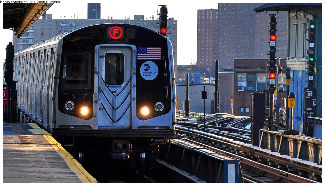 (265k, 1044x597)<br><b>Country:</b> United States<br><b>City:</b> New York<br><b>System:</b> New York City Transit<br><b>Line:</b> BMT Culver Line<br><b>Location:</b> Avenue X <br><b>Route:</b> F<br><b>Car:</b> R-160A (Option 2) (Alstom, 2009, 5-car sets)  9688 <br><b>Photo by:</b> Zach Summer<br><b>Date:</b> 1/9/2011<br><b>Viewed (this week/total):</b> 1 / 1148