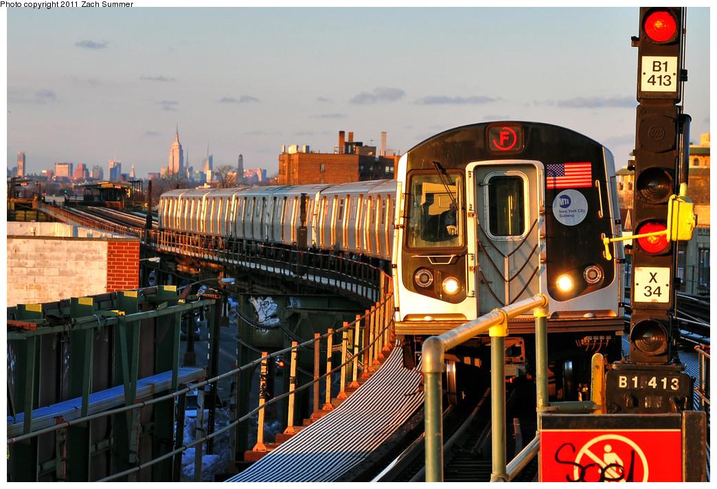 (308k, 1044x712)<br><b>Country:</b> United States<br><b>City:</b> New York<br><b>System:</b> New York City Transit<br><b>Line:</b> BMT Culver Line<br><b>Location:</b> Kings Highway <br><b>Route:</b> F<br><b>Car:</b> R-160A (Option 1) (Alstom, 2008-2009, 5 car sets)  9328 <br><b>Photo by:</b> Zach Summer<br><b>Date:</b> 1/9/2011<br><b>Viewed (this week/total):</b> 2 / 1248