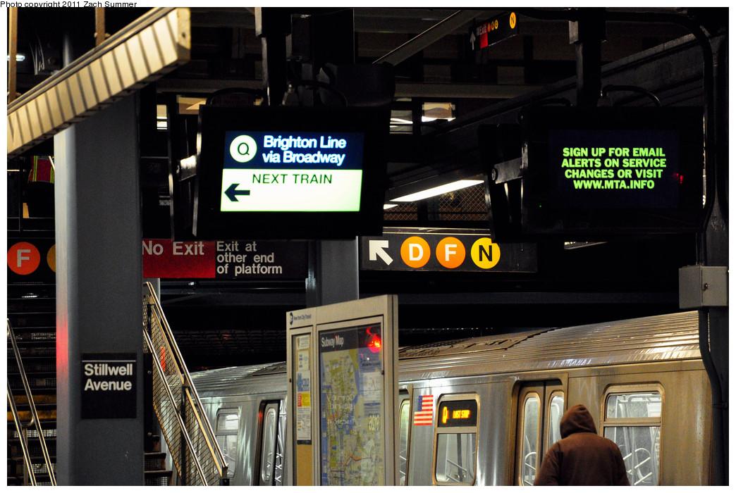 (266k, 1044x700)<br><b>Country:</b> United States<br><b>City:</b> New York<br><b>System:</b> New York City Transit<br><b>Location:</b> Coney Island/Stillwell Avenue<br><b>Photo by:</b> Zach Summer<br><b>Date:</b> 1/9/2011<br><b>Notes:</b> Q Platform<br><b>Viewed (this week/total):</b> 0 / 1976