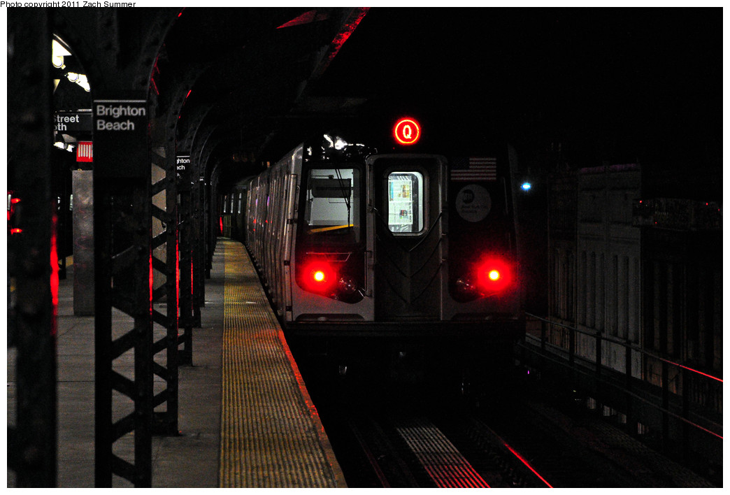 (192k, 1044x708)<br><b>Country:</b> United States<br><b>City:</b> New York<br><b>System:</b> New York City Transit<br><b>Line:</b> BMT Brighton Line<br><b>Location:</b> Brighton Beach <br><b>Route:</b> Q<br><b>Car:</b> R-160A/R-160B Series (Number Unknown)  <br><b>Photo by:</b> Zach Summer<br><b>Date:</b> 1/9/2011<br><b>Viewed (this week/total):</b> 5 / 1274