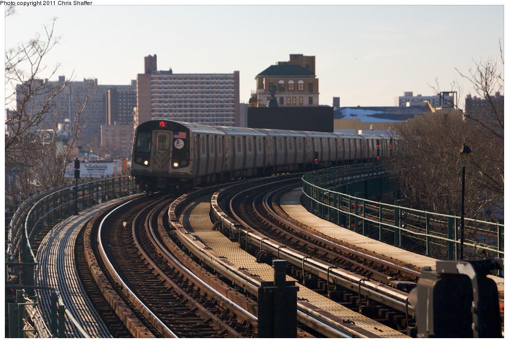 (265k, 1044x703)<br><b>Country:</b> United States<br><b>City:</b> New York<br><b>System:</b> New York City Transit<br><b>Line:</b> BMT Brighton Line<br><b>Location:</b> West 8th Street <br><b>Route:</b> Q<br><b>Car:</b> R-160B (Option 1) (Kawasaki, 2008-2009)  9103 <br><b>Photo by:</b> Chris C. Shaffer<br><b>Date:</b> 2/11/2011<br><b>Viewed (this week/total):</b> 2 / 1271