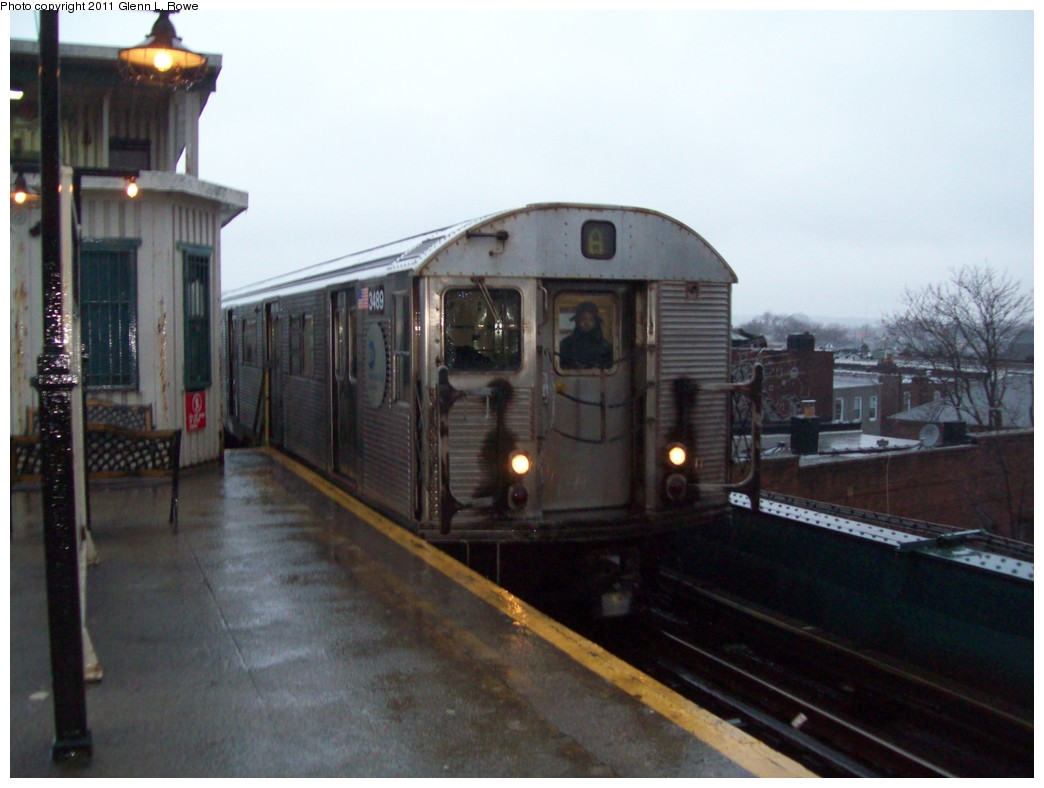 (163k, 1044x788)<br><b>Country:</b> United States<br><b>City:</b> New York<br><b>System:</b> New York City Transit<br><b>Line:</b> IND Fulton Street Line<br><b>Location:</b> Lefferts Boulevard <br><b>Route:</b> A<br><b>Car:</b> R-32 (Budd, 1964)  3489 <br><b>Photo by:</b> Glenn L. Rowe<br><b>Date:</b> 3/16/2011<br><b>Viewed (this week/total):</b> 3 / 1171
